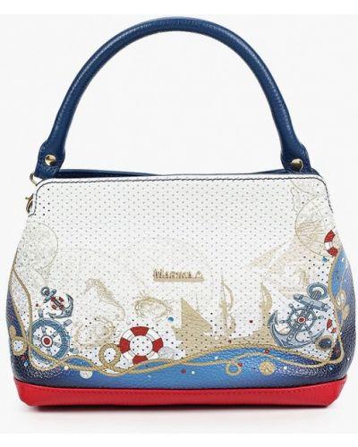 Белая сумка с ручками из натуральной кожи Marina Creazioni