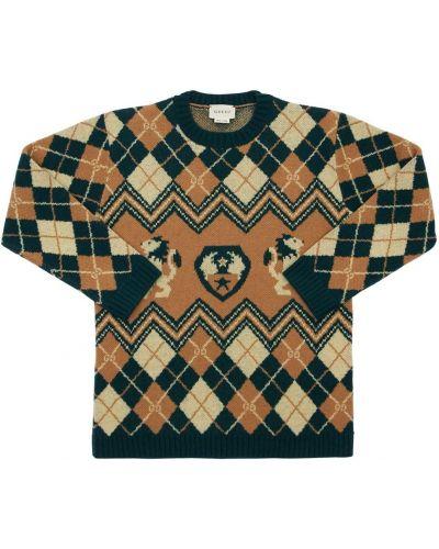 Wełniany sweter z kołnierzem z mankietami Gucci