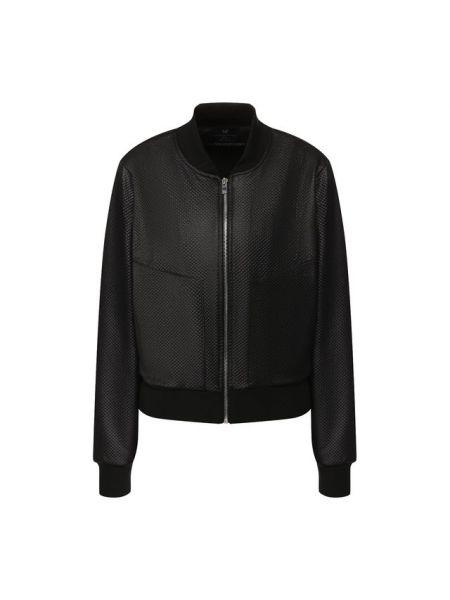 Кожаная черная спортивная куртка на молнии с карманами Heroine Sport