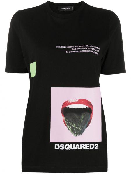 С рукавами черная прямая рубашка с коротким рукавом круглая Dsquared2