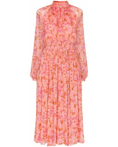 Розовое платье миди с воротником винтажное By Timo