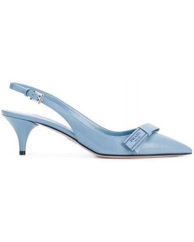 Туфли-лодочки с открытой пяткой на низком каблуке кожаные Prada