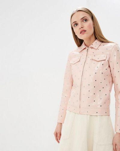 Кожаная куртка весенняя розовая Liu Jo