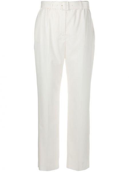 Брючные шерстяные брюки с поясом айвори Agnona
