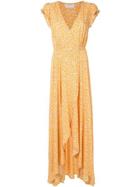 Однобортное бежевое платье с V-образным вырезом на молнии Auguste