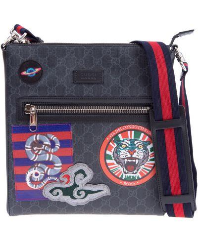 Кожаная сумка мессенджер на молнии Gucci
