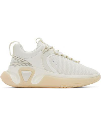 Белые кроссовки на каблуке сетчатые на шнурках Balmain
