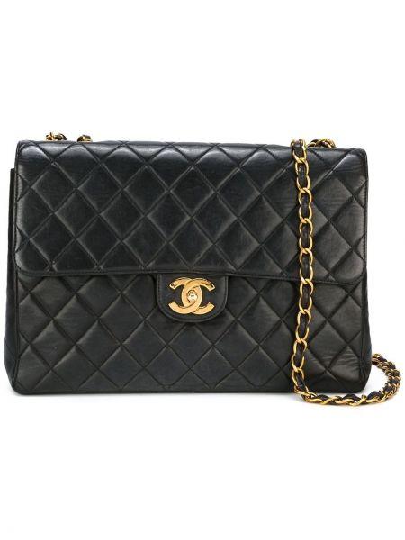 Черная стеганая сумка на цепочке на молнии винтажная Chanel Pre-owned
