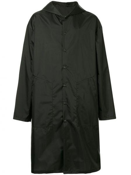 Черное длинное пальто мембранное на пуговицах Yoshiokubo