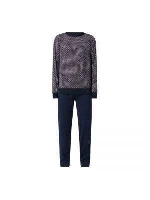 Prążkowana niebieska spodni piżama bawełniana Seidensticker