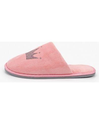 Текстильные розовые домашние тапочки юничел