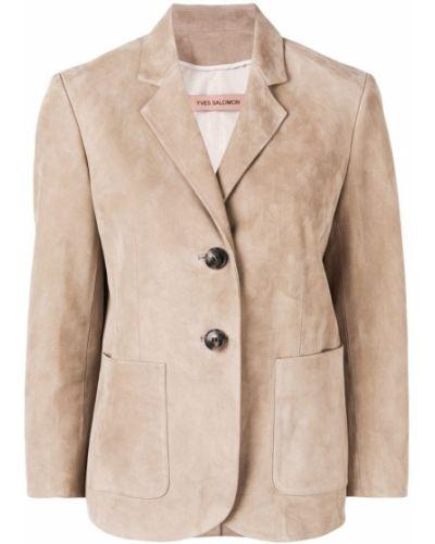 Пиджак бежевый шелковый Yves Salomon