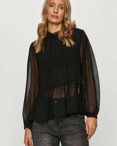 Czarna bluzka z falbanami materiałowa Only