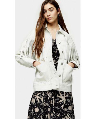 Кожаная белая кожаная куртка Topshop