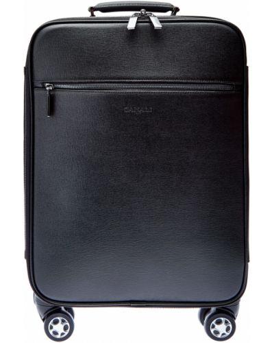 Деловой кожаный черный чемодан с сеткой Canali