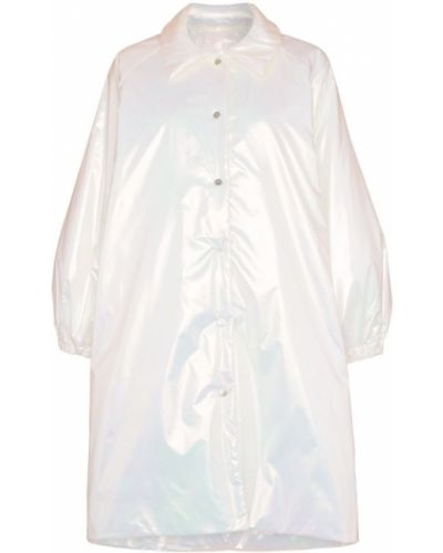 Белое пальто классическое с воротником на пуговицах с капюшоном Paskal