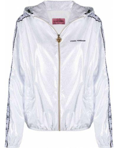 Серебряная куртка с капюшоном на молнии Chiara Ferragni
