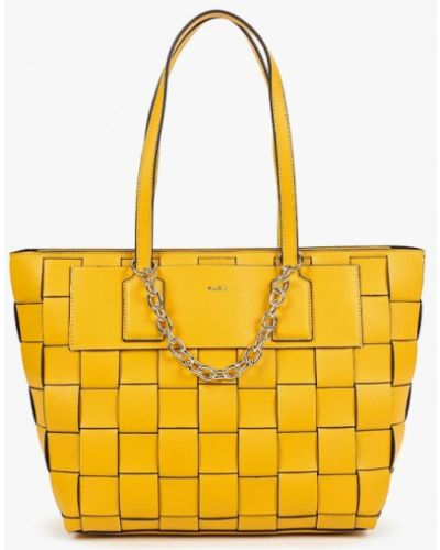 Кожаная сумка шоппер - желтая Aldo