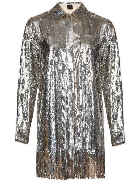 Серебряное платье с пайетками Pinko