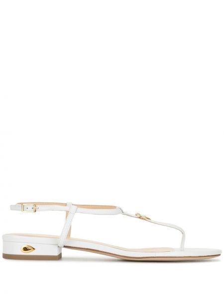 С ремешком белые кожаные сандалии с пряжкой Jennifer Chamandi