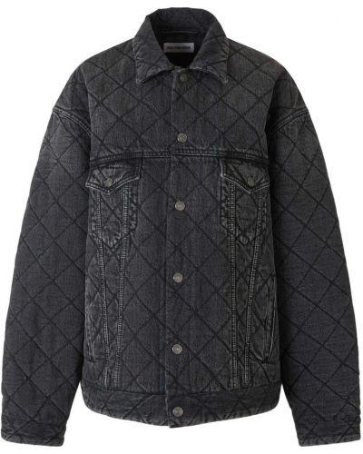 Czarna kurtka jeansowa bawełniana oversize Balenciaga