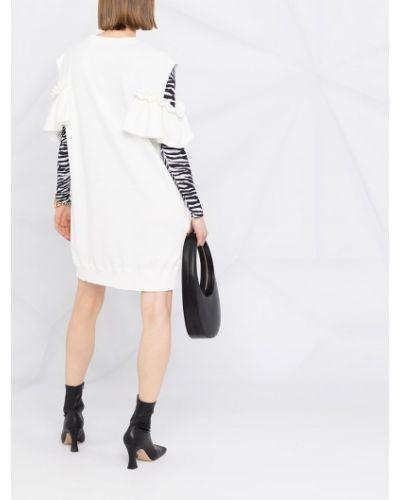 Открытое белое платье с оборками Mm6 Maison Margiela