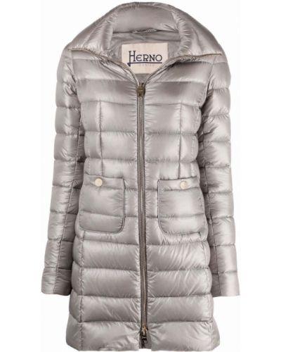 Серое стеганое пальто с накладными карманами на шпильке Herno