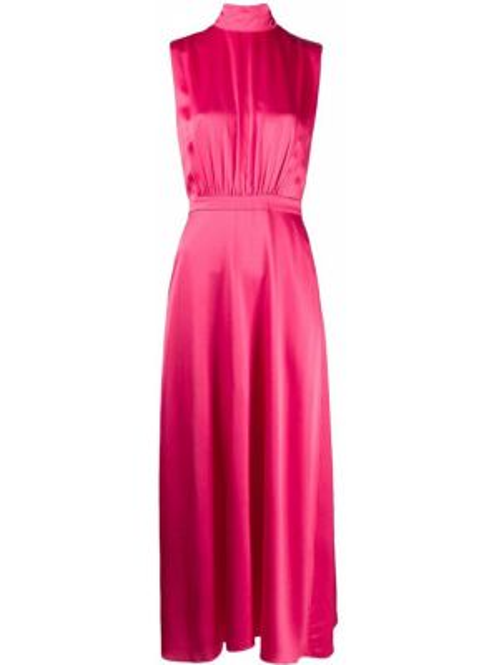 Платье миди розовое с поясом Saloni