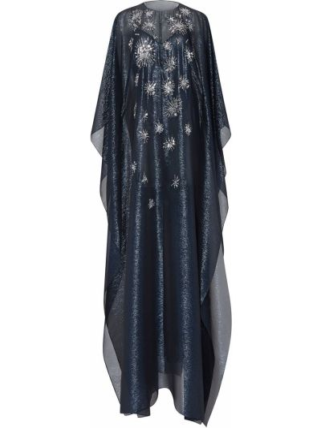 Синее шелковое платье с пайетками с вырезом Oscar De La Renta