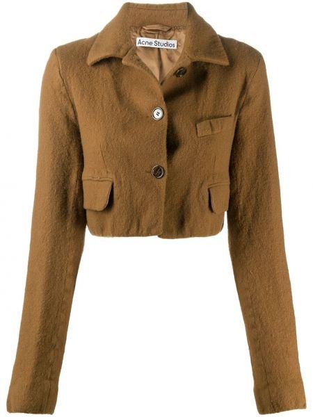 Brązowy klasyczny długa kurtka z kieszeniami z długimi rękawami Acne Studios
