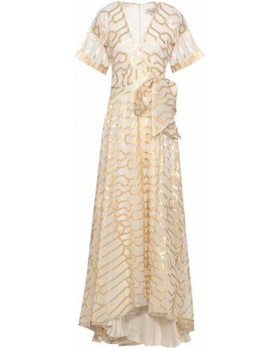 Шелковое бежевое платье макси с подкладкой Temperley London