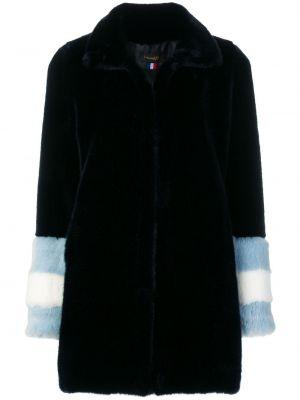 С рукавами акриловое синее пальто с лацканами La Seine & Moi