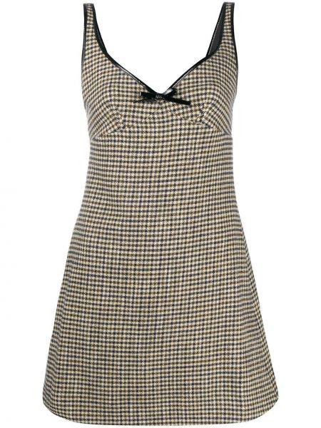 Коричневое акриловое платье с V-образным вырезом без рукавов Alexa Chung