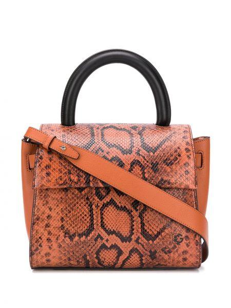 Кожаная коричневая сумка-тоут на молнии Elena Ghisellini