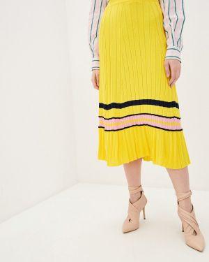 Плиссированная юбка розовая желтый Pinko
