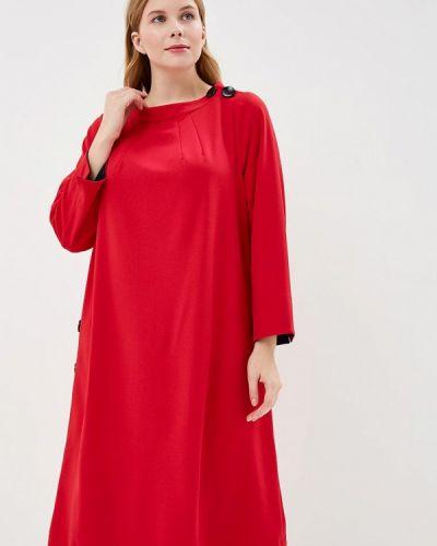 Повседневное платье осеннее красный Silver String