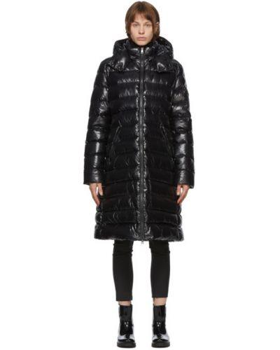 Пуховое стеганое черное длинное пальто с воротником Moncler