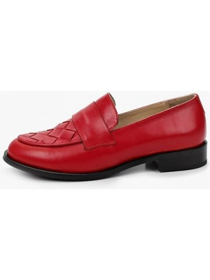 Красные кожаные лоферы Hestrend
