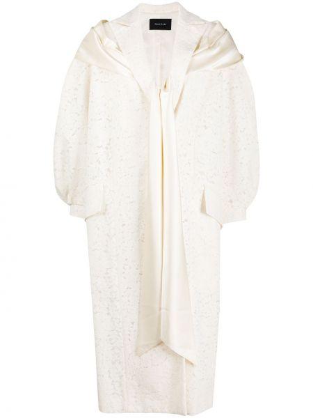 Beżowy płaszcz bawełniany koronkowy Simone Rocha