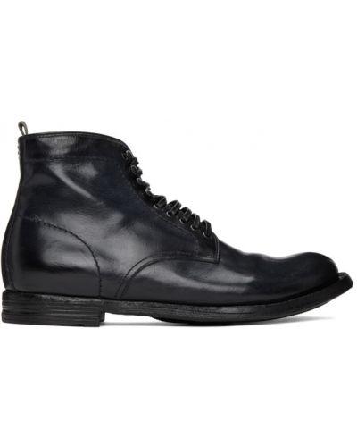 Koronkowa czarny buty na wysokości zasznurować z prawdziwej skóry Officine Creative