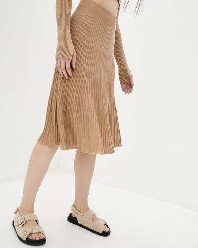 Юбка миди из плотной ткани - коричневая Sewel