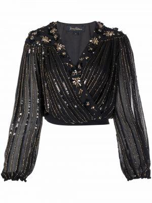 Czarna bluzka kopertowa z wiskozy Jenny Packham