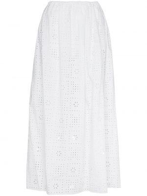 Хлопковая белая плиссированная юбка макси Matteau
