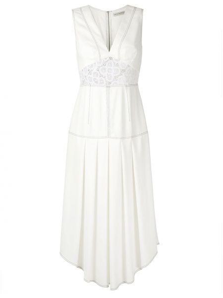 Белое приталенное платье миди без рукавов на молнии Martha Medeiros