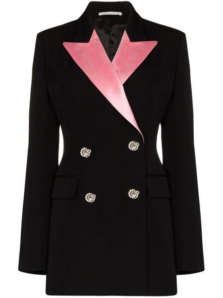 Шерстяной черный пиджак двубортный Alessandra Rich