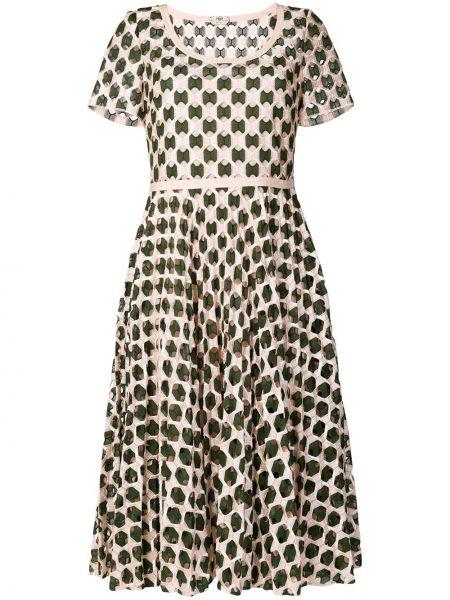 Расклешенное приталенное кожаное платье круглое Fendi