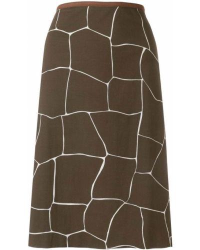 Коричневая прямая юбка миди винтажная в рубчик Miu Miu Pre-owned