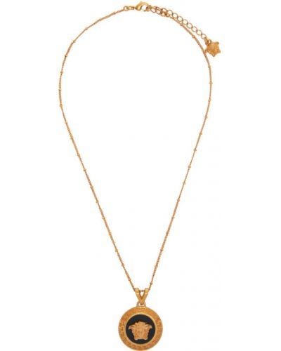 Czarny wisiorka ze złota z koralikami Versace