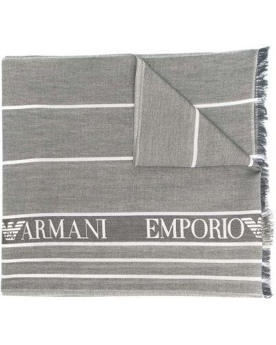 Biały szalik z jedwabiu z printem Emporio Armani