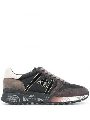 Кожаные черные кроссовки на шнуровке Premiata